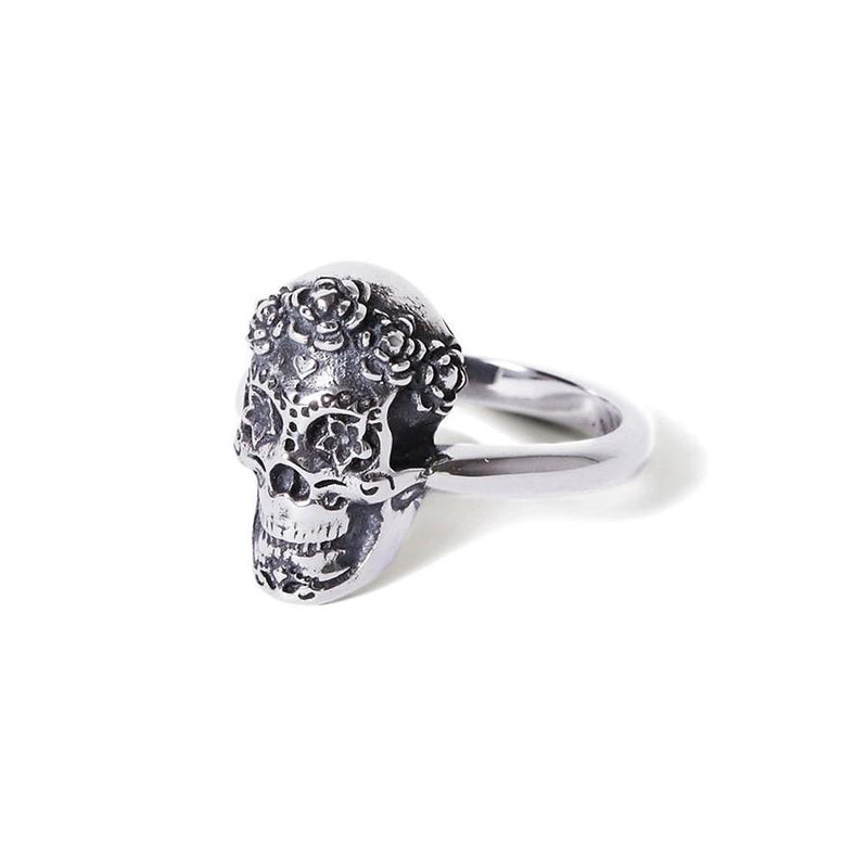 Katmeleon Sugar Skull Sterling Silver Ring clothing & accessories Katmeleon Jewellery extra small (G-1/2) sterling silver