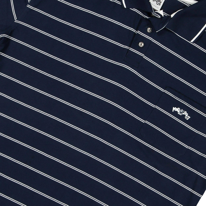 Mad Dogs Cadet Navy Classic Stripe Mens Golf Shirt clothing & accessories Mad Dogs