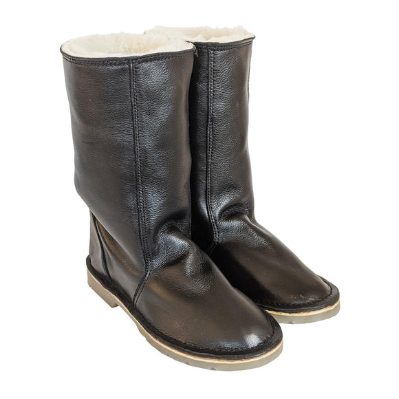 madebyartisans Black Leather & Sheepskin Boots clothing & accessories madebyartisans.