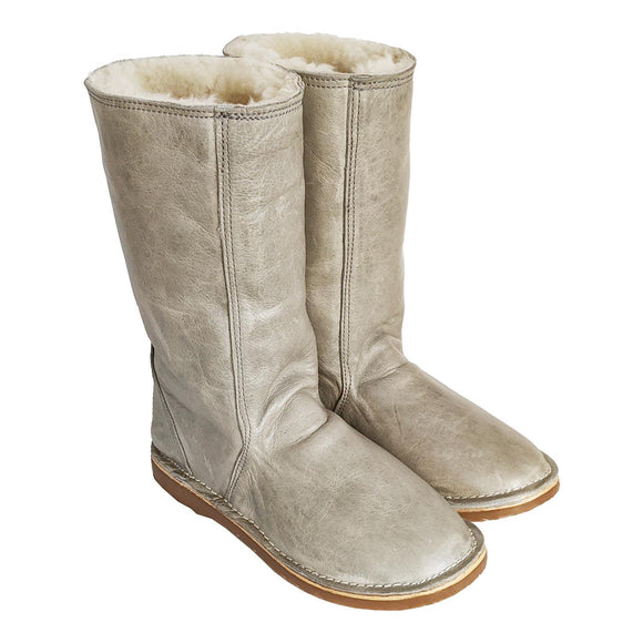 madebyartisans Light Grey Leather & Sheepskin Boots clothing & accessories madebyartisans.