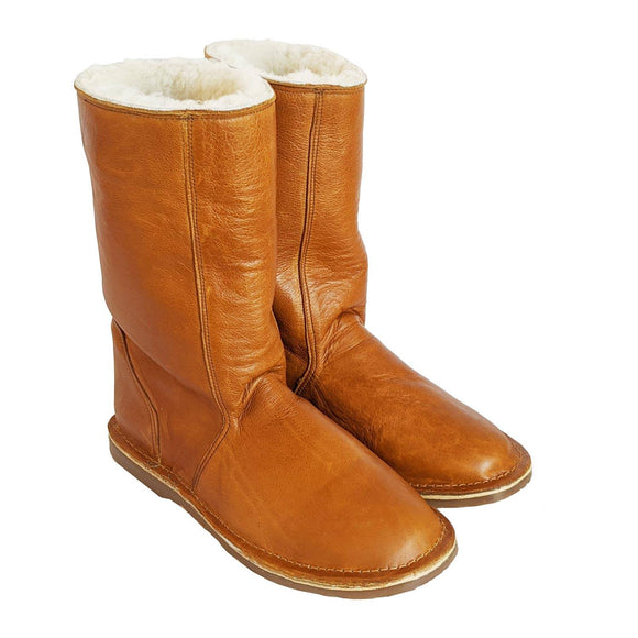 madebyartisans Tan Leather & Sheepskin Boots clothing & accessories madebyartisans.