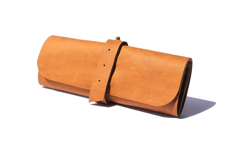 Major Jane Genuine Leather Makeup Roll clothing & accessories Major John tan