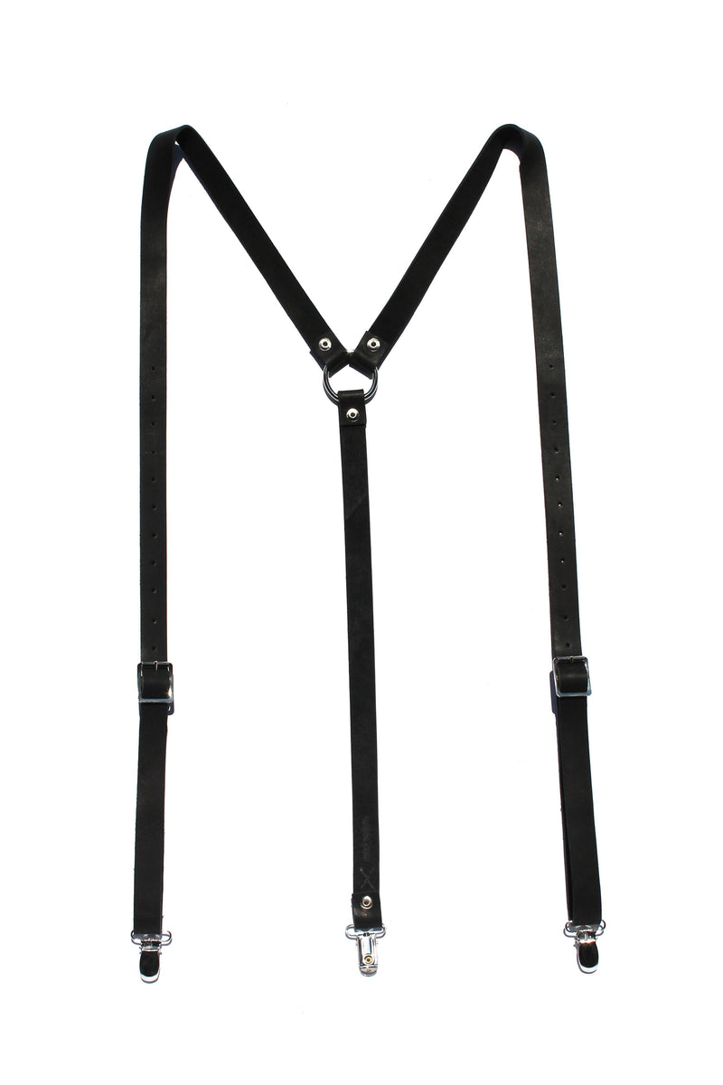 Major John Genuine Leather Suspenders clothing & accessories Major John medium black