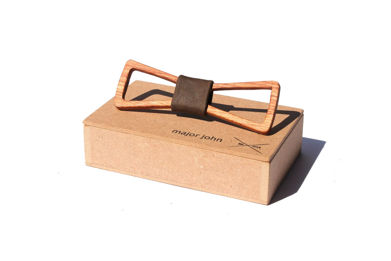Major John Timber Bow Ties clothing & accessories Major John Rosewood Timber & Chocolate Genuine Leather centrepiece