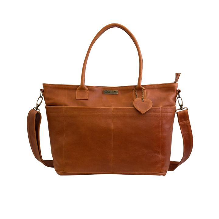 Mally Beula Leather Baby Bag baby & kids Mally Leather Bags toffee