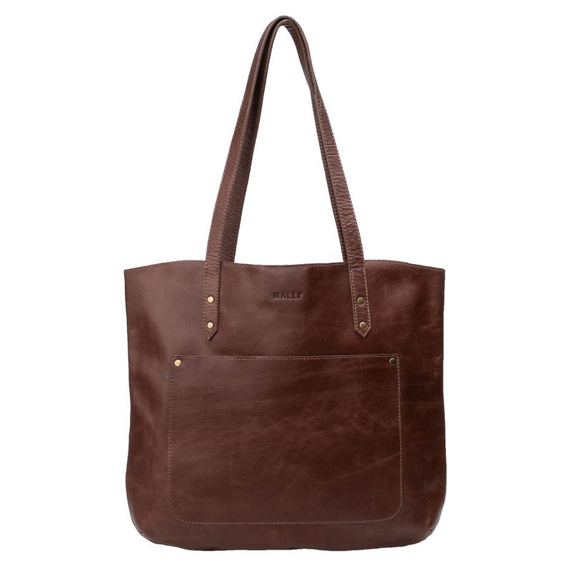 Mally Zara Tote Leather Handbag clothing & accessories Mally Leather Bags brown