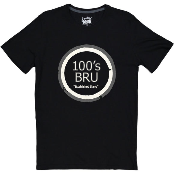 MayBru '100's BRU' Black Mens T-Shirt clothing & accessories MayBru