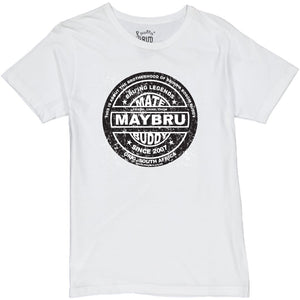 MayBru 'Buddy Label' Solid White Mens T-Shirt clothing & accessories MayBru