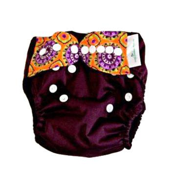 Mother Nature All-In-Three Cloth Nappy baby & kids Mother Nature Products aubergine (with pattern strap)