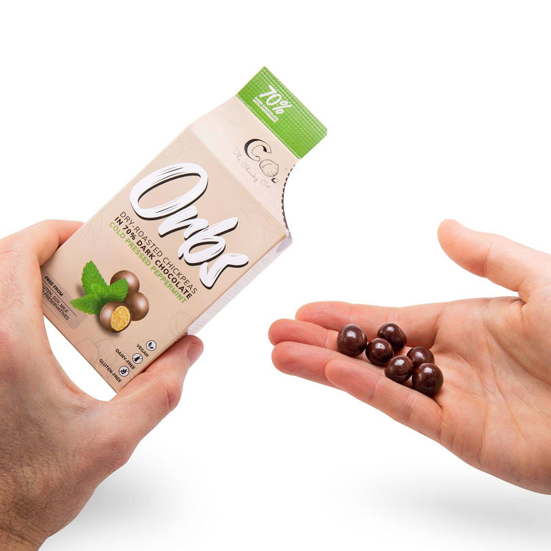 Orbs Roasted Chickpeas in Dark Chocolate Peppermint 65g food Cheaky Co