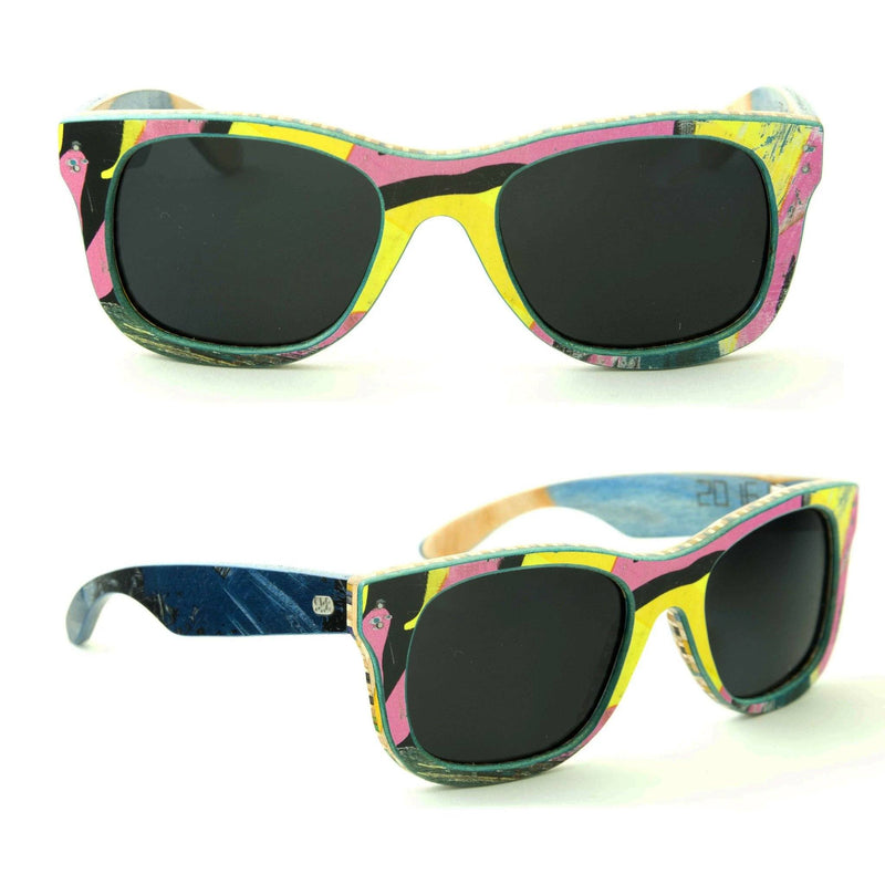 Sk8shades Layback Sunglasses clothing & accessories Sk8shades black-pink-yellow