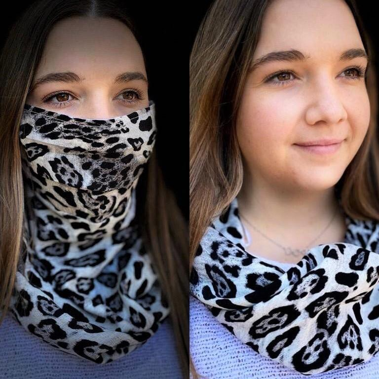 Xharmz Blue Cheetah & Forest Snood Face Mask clothing & accessories Charmz