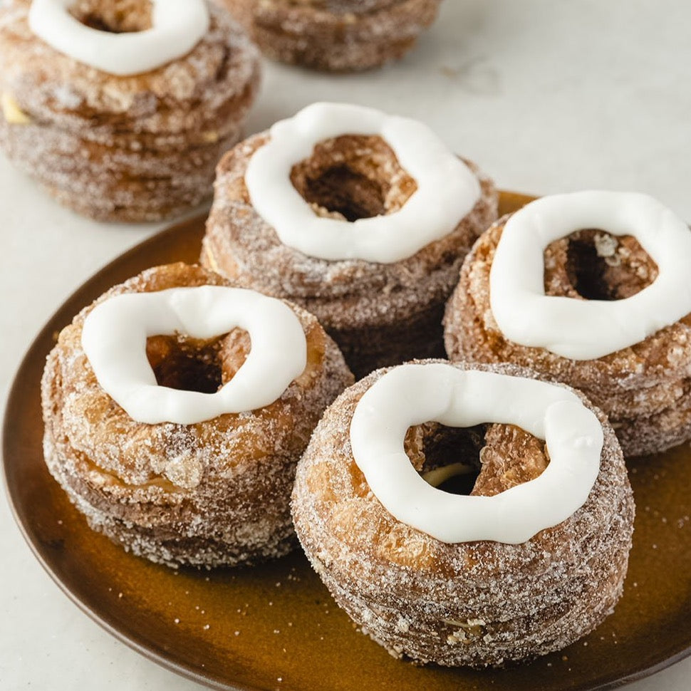 Set of Cronut dessert pastry with Vanilla icing