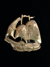 Load image into Gallery viewer, Thief of Bagdad 1940's Ship Gold Plated Brooch