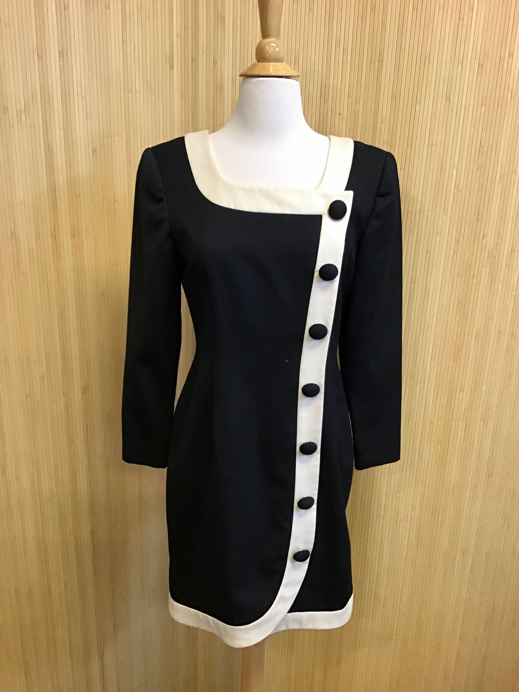 Scaasi Vintage 80's Long Sleeve Dress (M)