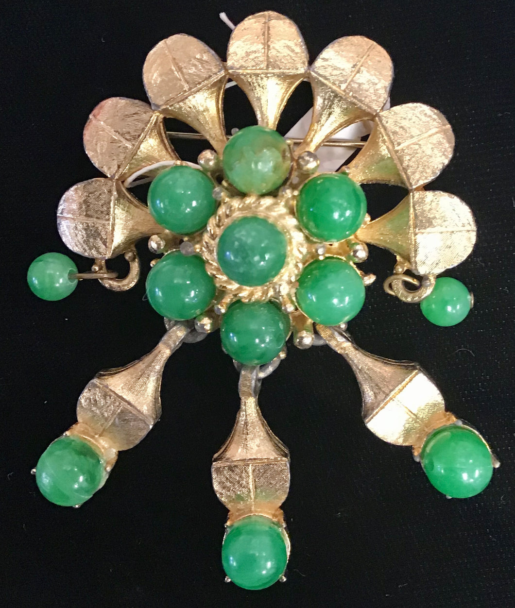Green and Gold Vintage Brooch