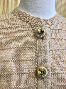 Vintage Cardigan with Flower Buttons (M)