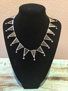 Art Deco Glass Cut Triangles Necklace