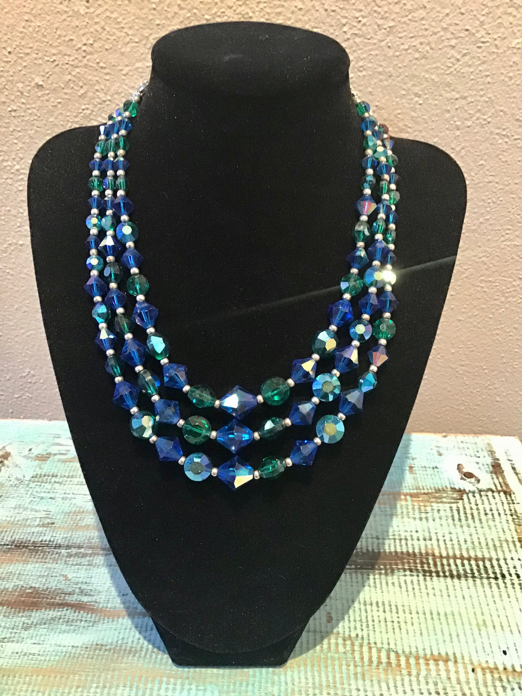 Mid-Century Iridescent Green-Blue Cut Glass Necklace
