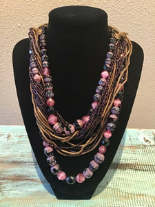 Mid-Century Multi-Strand Beaded Necklace