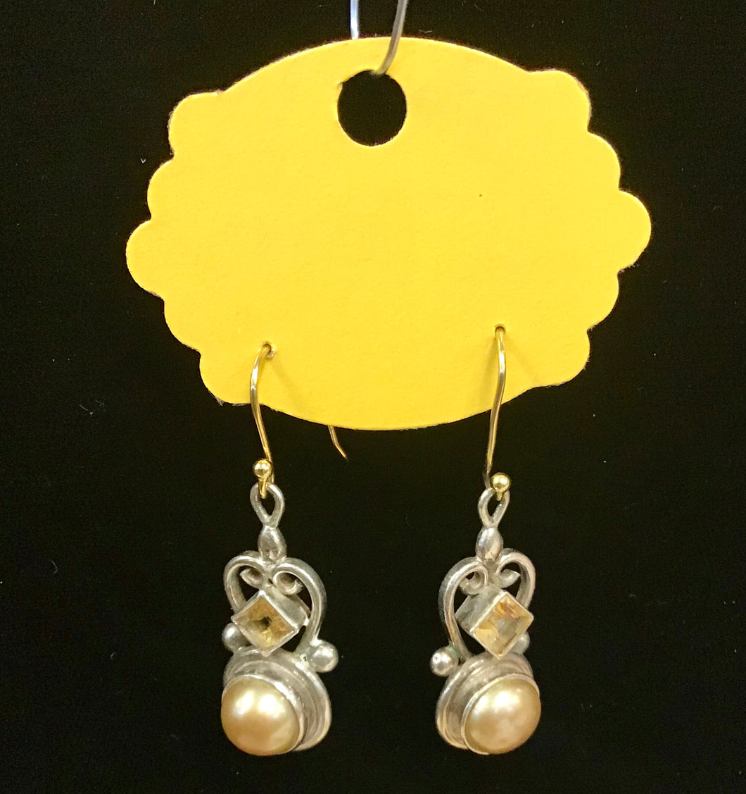 Sterling, Citrine and Freshwater Pearl Earrings