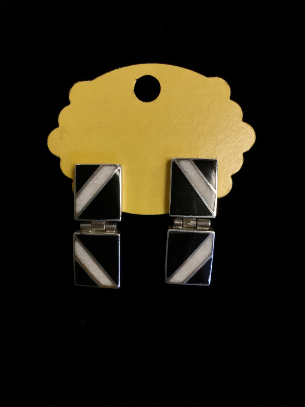Sterling and Enamel Hinge Earrings