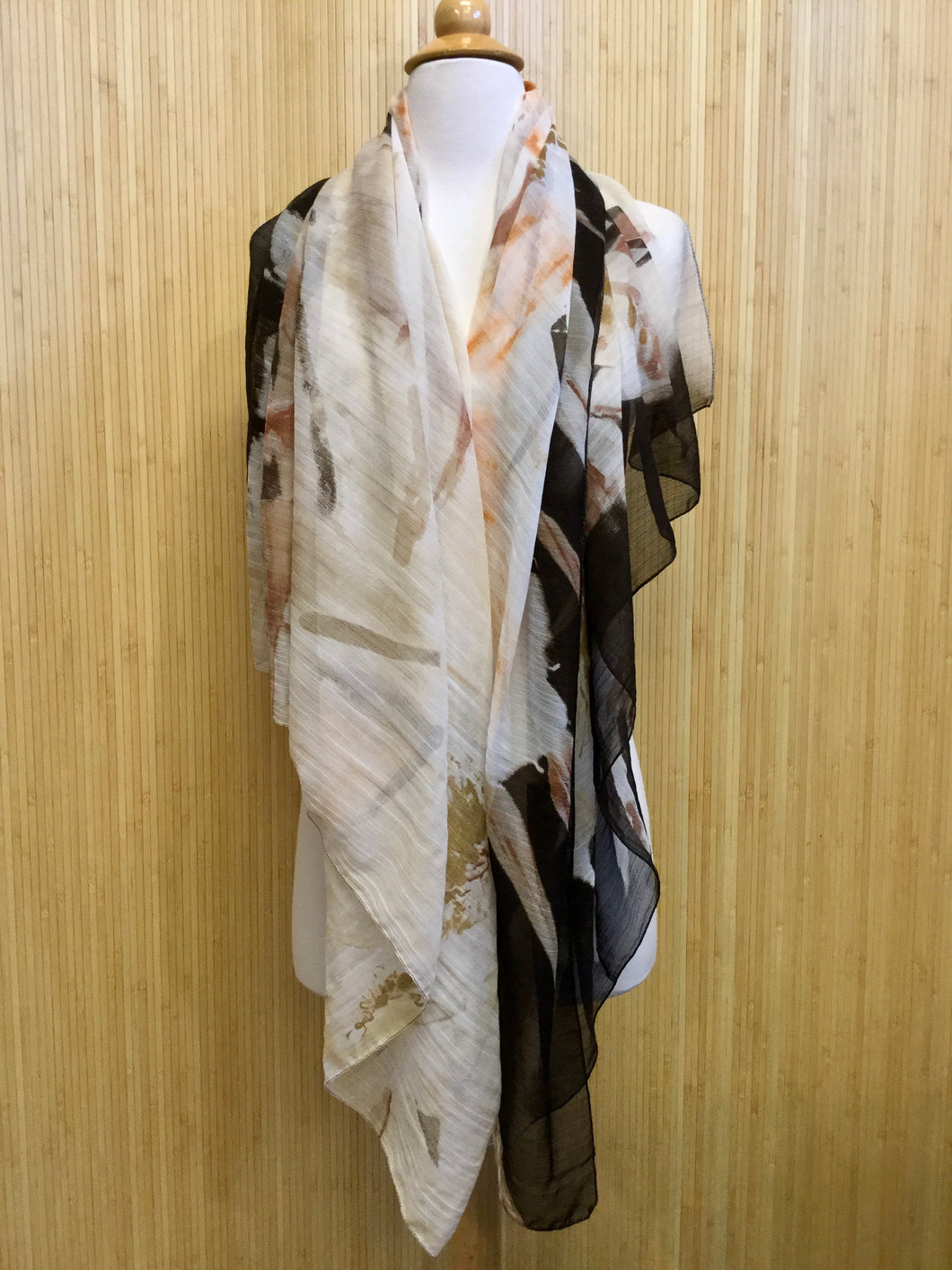Sheer Abstract Floral Scarf