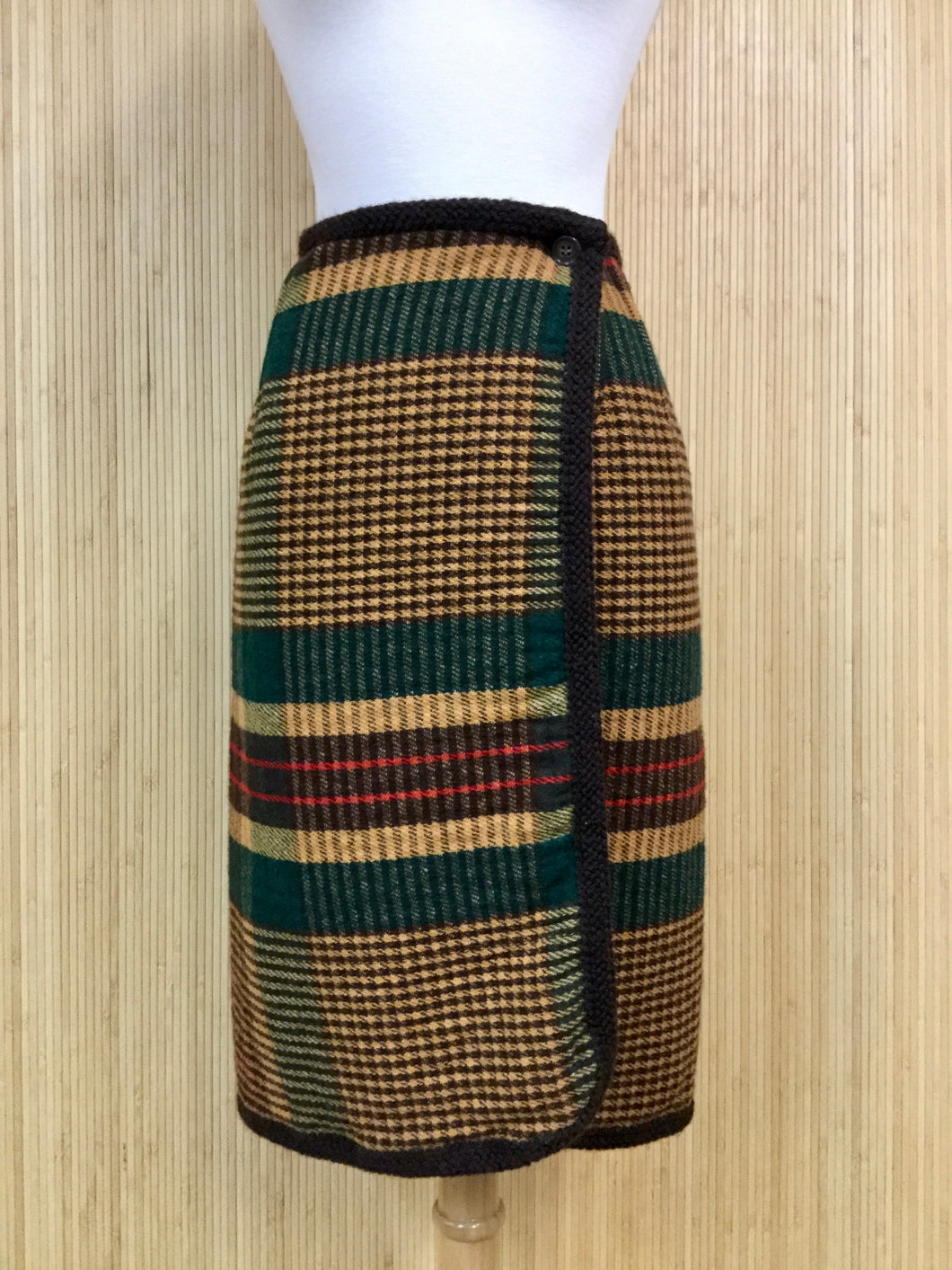 Vintage Knit Plaid Skirt (XS)