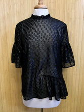 Load image into Gallery viewer, Sheer Polka Dot Ruffle Sleeve Top (L)