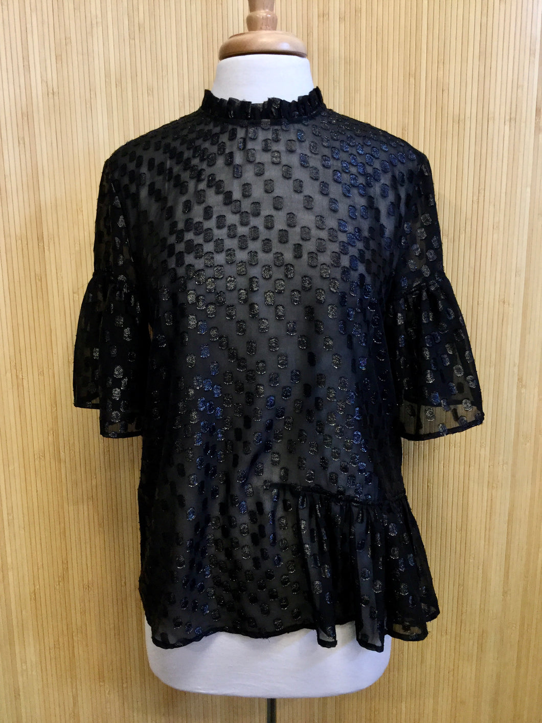 Sheer Polka Dot Ruffle Sleeve Top (L)