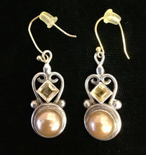 Load image into Gallery viewer, Sterling, Citrine and Freshwater Pearl Earrings