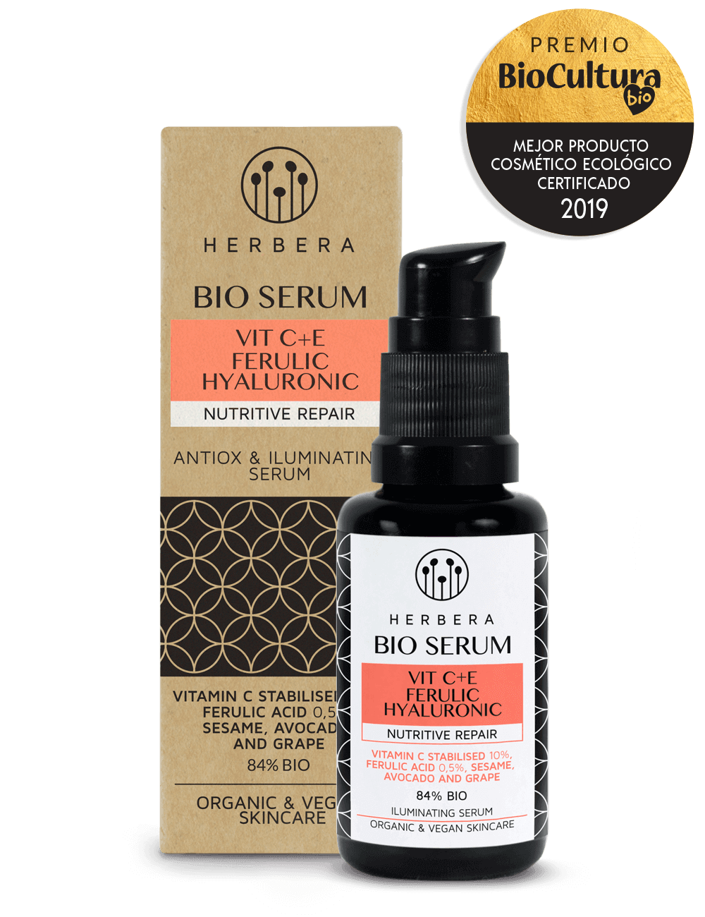 HERBERA SERUM FACIAL VITAMINA C, VIT. E Y FERÚLICO NUTRITIVO P.NORMAL/SECA 30ML