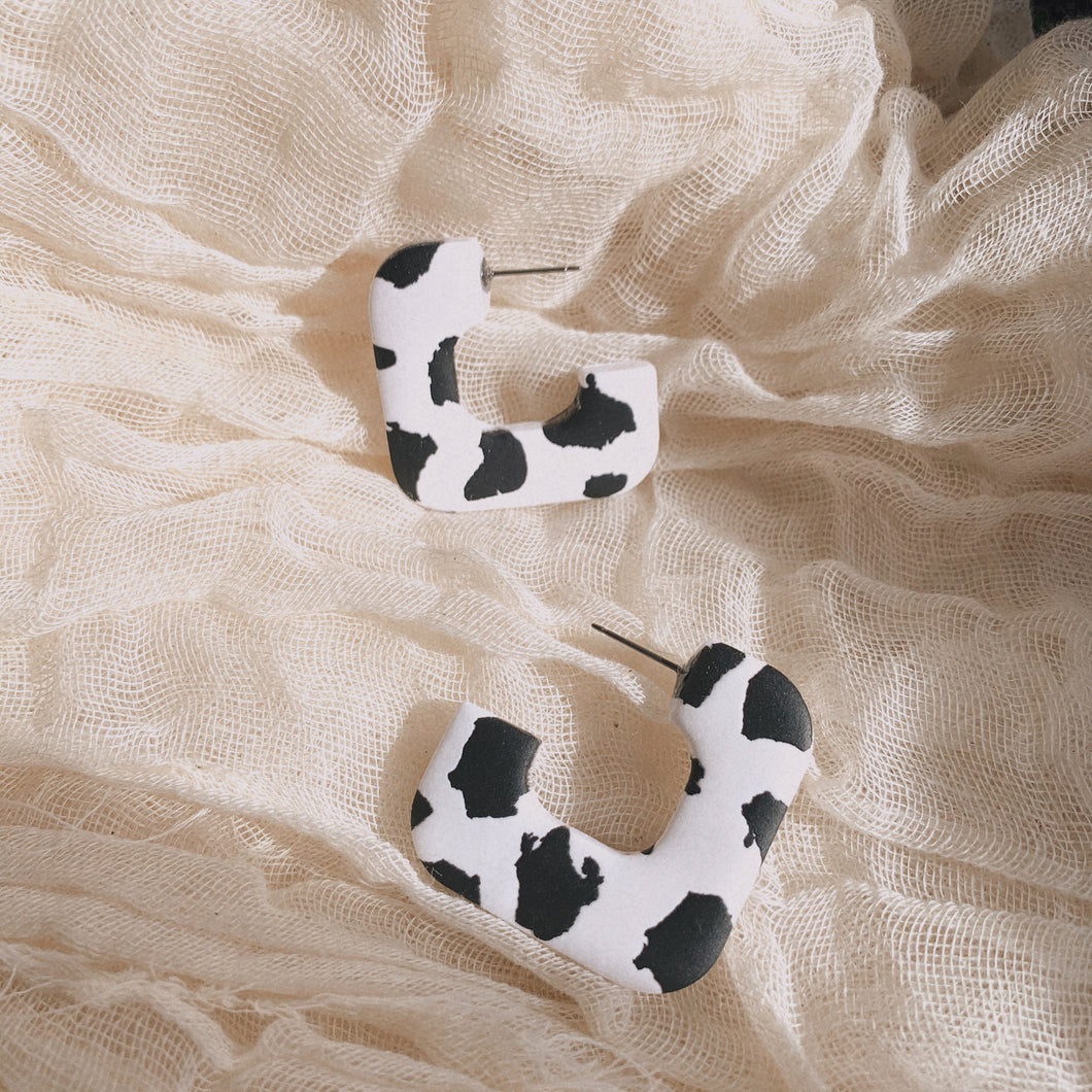 Cow Print Square Chunky Hoops