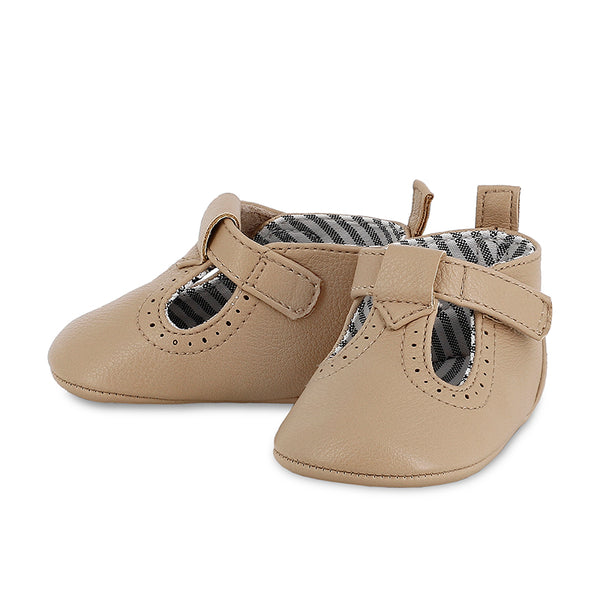 Faux Leather Shoes - Baby Boy, Taupe