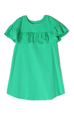 Ruffle Trim Shift Dress - Green