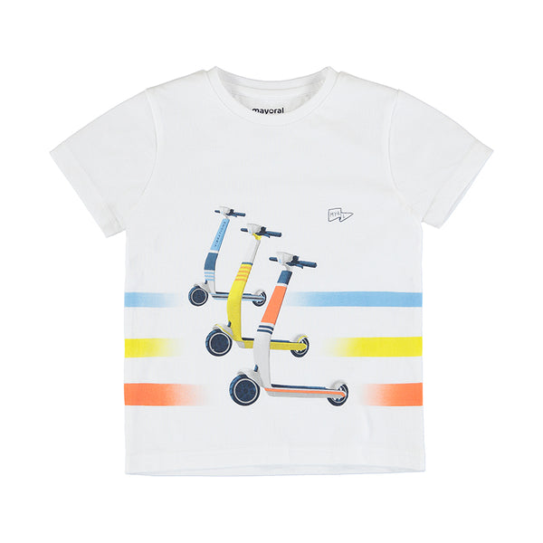Short Sleeve Tee - Vintage Scooters, White