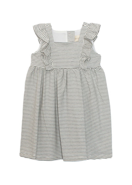 Sleeveless Striped Knit Dress - Black & White
