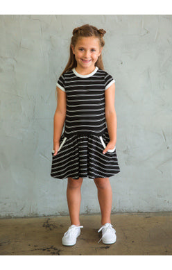 True & You Dress - Black and Ivory Stripe