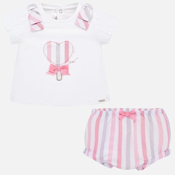 Shirt & Bloomer Set, Pink & Gray Stripe