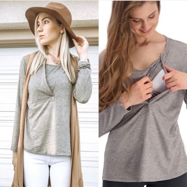 Heathered Henley Nursing Top - Taupe