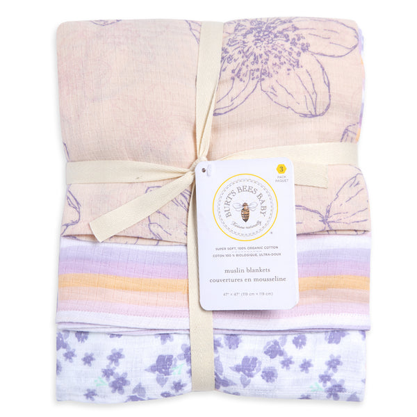 Blackberry Flowers Organic Muslin Swaddle Blankets - 3 Pack