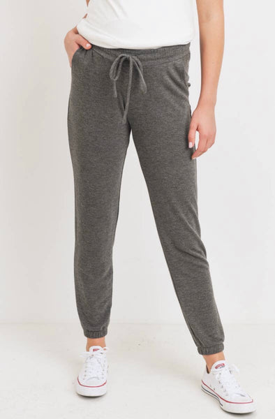 Two-Tone Brushed Terry Maternity Sweatpants - Charcoal