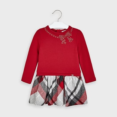 Sweater Dress - Scarlet & Gray Plaid Skirt