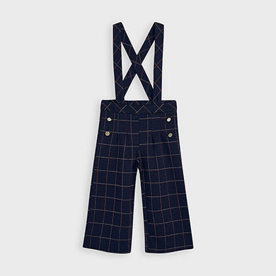 Plaid Culotte Pants with Suspenders