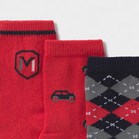 Socks 3 Pair Set - Red