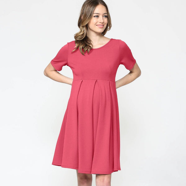 Maternity Swing Dress with Front Pleat - Hot Pink