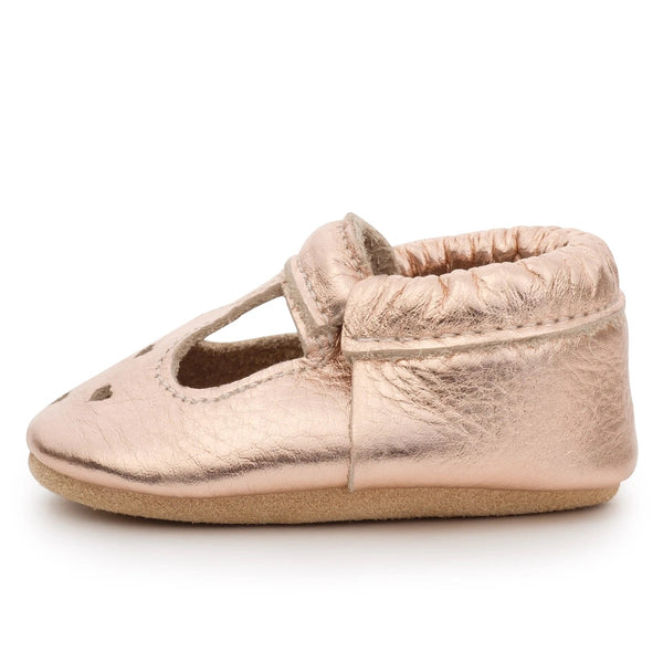 Mary Jane Moccasins - Rose Gold