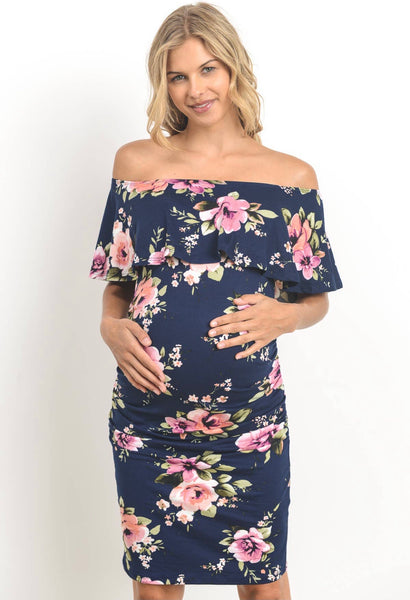 Off Shoulder Ruffle Maternity Dress - Navy Floral