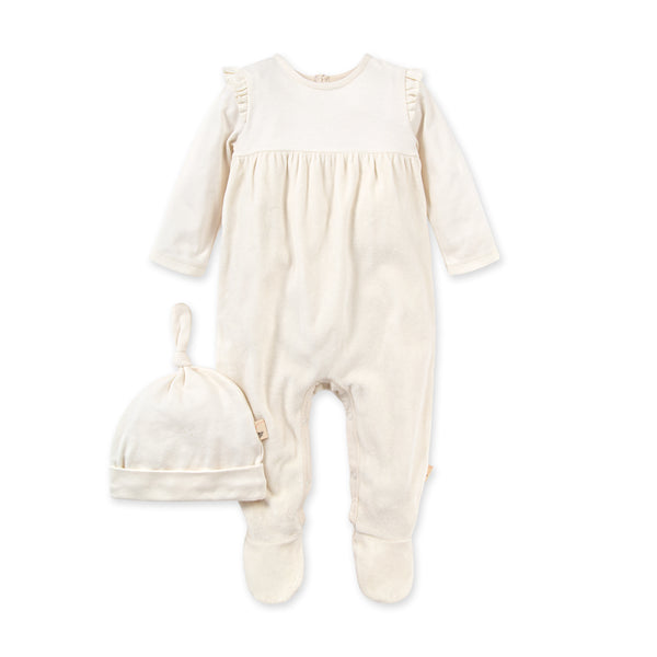 Velour Jumpsuit & Hat Set - Eggshell