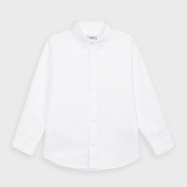 Long Sleeve Oxford Shirt - White